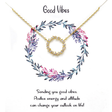 BITZ STORY GOOD VIBES NECKLACE - GOLD OR SILVER OPTION