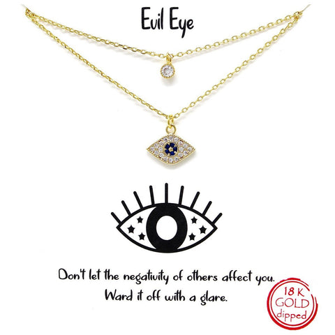 BITZ STORY: EVIL EYE SIMPLE CHAIN SHORT NECKLACE TWO COLOR OPTIONS - GOLD OR SILVER
