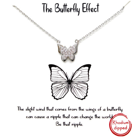 BITZ STORY: THE BUTTERFLY EFFECT PENDANT SIMPLE CHAIN SHORT NECKLACE