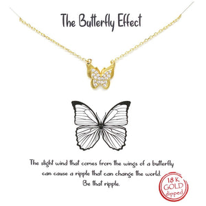 BITZ STORY: THE BUTTERFLY EFFECT PENDANT SIMPLE CHAIN SHORT NECKLACE TWO COLOR OPTIONS - GOLD OR SILVER