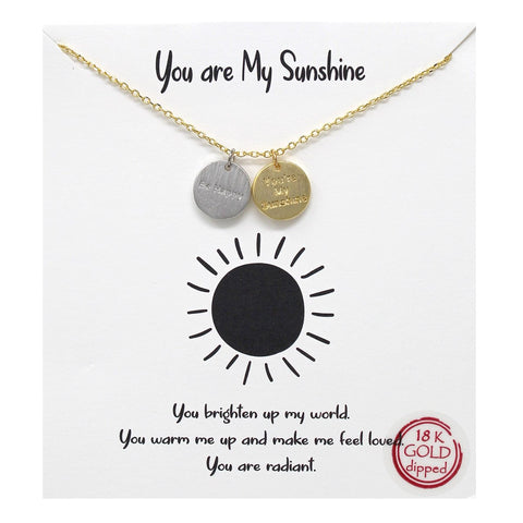 BITZ STORY: YOU ARE MY SUNSHINE PENDANT SIMPLE CHAIN SHORT NECKLACE