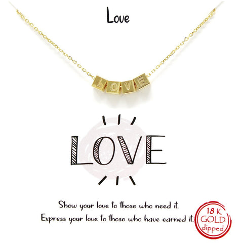 BITZ STORY: LOVE ENGRAVED SLIDING CUBE SHORT NECKLACE - TWO COLOR OPTIONS