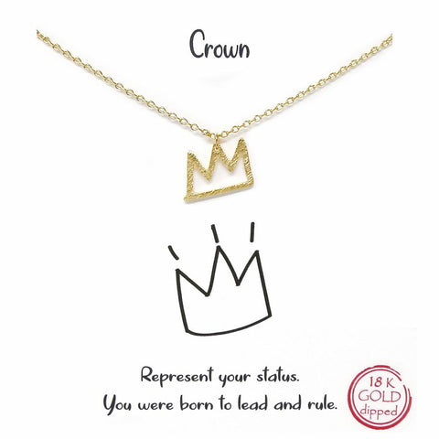 BITZ STORY: CROWN PENDANT SHORT CHAIN NECKLACE