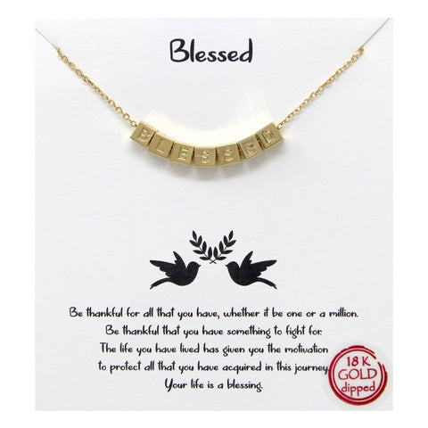 BITZ STORY: BLESSED ENGRAVED CUBE PENDANT SIMPLE CHAIN NECKLACE