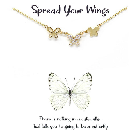 BITZ STORY: SPREAD YOUR WINGS BUTTERFLY PENDANT SIMPLE CHAIN NECKLACE