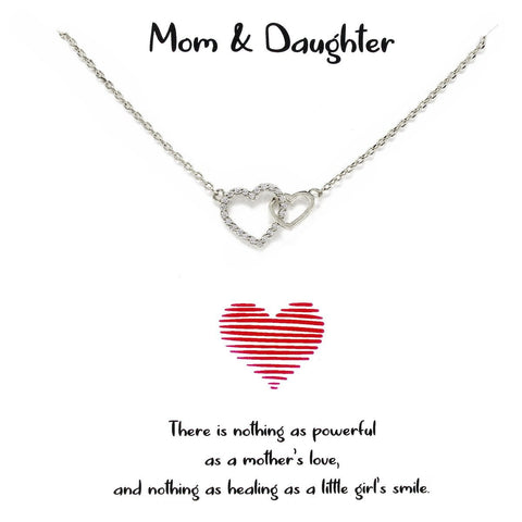 BITZ STORY: MOM & DAUGHTER LINKED HEART PENDANT SIMPLE CHAIN NECKLACE 2 COLOR OPTIONS
