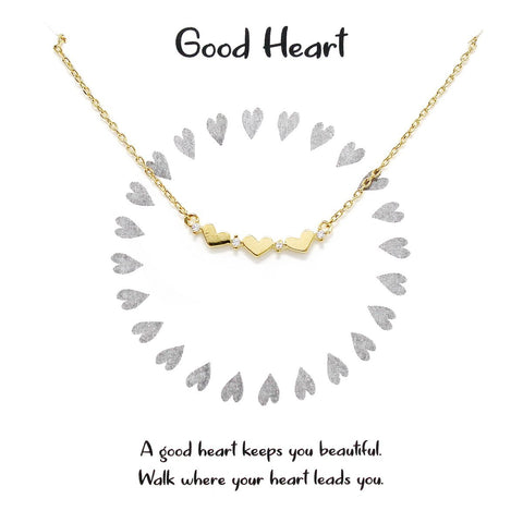 BITZ STORY: GOOD HEART PENDANT SIMPLE CHAIN NECKLACE TWO COLOR OPTIONS - GOLD OR SILVER