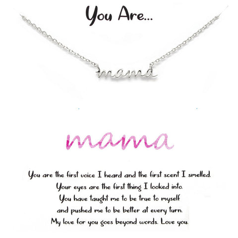 BITZ STORY: YOU ARE... MAMA NAMEPLATE SHORT CHAIN NECKLACE - TWO COLOR OPTIONS