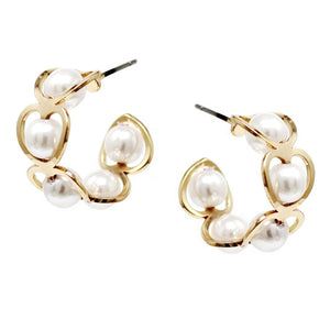 BITZ HEART SHAPE PEARL BEADED MINI HOOP EARRINGS