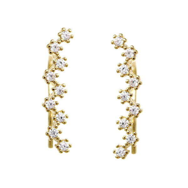 BITZ CUBIC ZIRCONIA PAVE ZIGZAG EAR CRAWLERS EARRING TWO COLOR OPTIONS - GOLD OR SILVER
