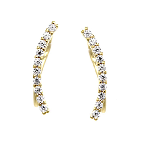 BITZ CUBIC ZIRCONIA PAVE CURVED BAR EAR CRAWLERS EARRINGS