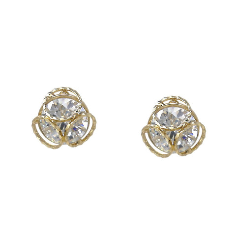 BITZ TRIPLE RING TRIO LAYERED CUBIC ZIRCONIA STUD EARRINGS