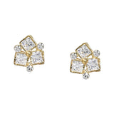 BITZ METAL FRAMED TRIPLE CUBIC ZIRCONIA PAVE TRIO STUD EARRINGS