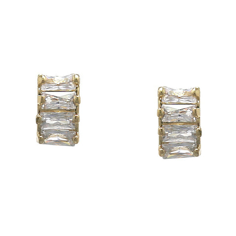 BITZ EMERALD CUT CUBIC ZIRCONIA PAVE BAR STUD EARRINGS