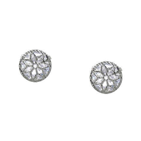 BITZ FLOWER PATTERN METAL LAYERED CZ STUD EARRINGS