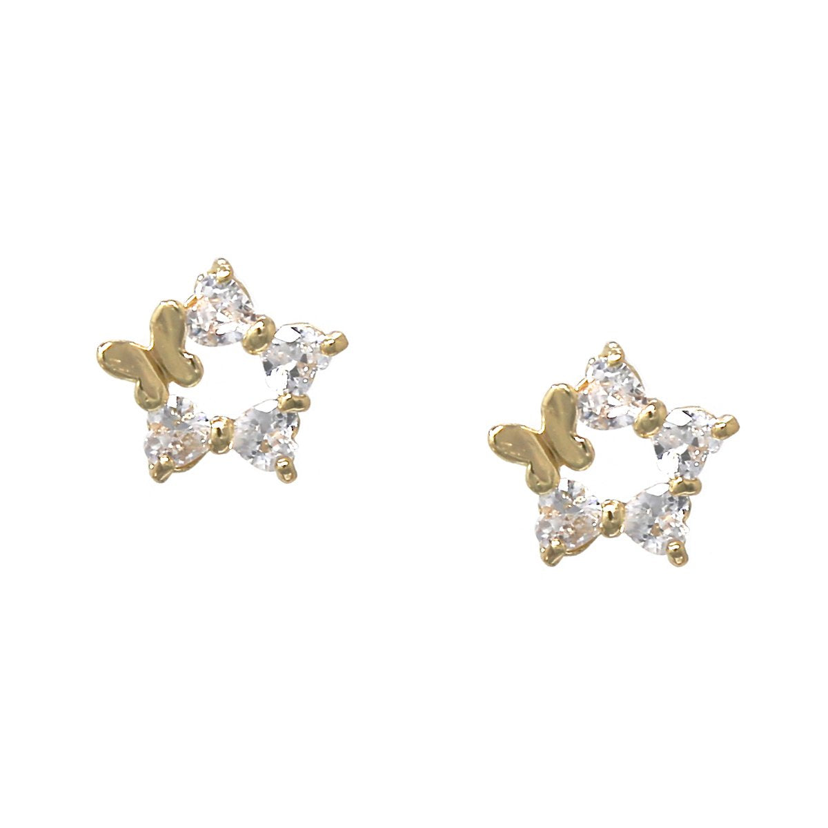 BITZ BUTTERFLY WITH STAR SHAPE CUBIC ZIRCONIA PAVE STUD EARRINGS