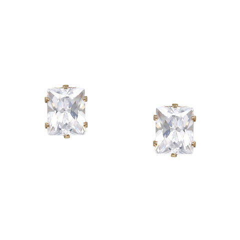 BITZ EMERALD CUT CZ STUD EARRINGS