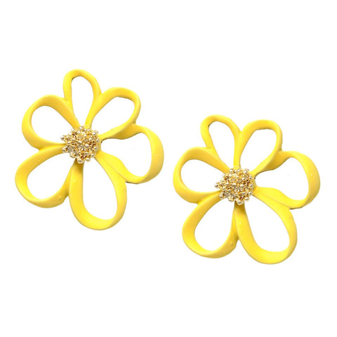 BITZ COLOR COATED FLOWER STUD EARRINGS