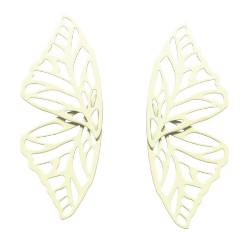 BITZ COLOR COATED METAL CUTOUT BUTTERFLY STUD EARRINGS - IVORY