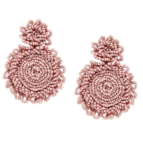 BITZ CHUNKY SEED BEADED DOUBLE DISC DROP EARRINGS