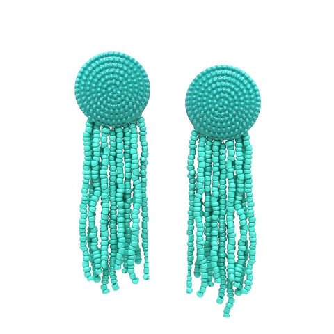 BITZ COLOR COATED DISC TOP WITH SEED BEAD TASSEL FRINGE DROP EARRINGS