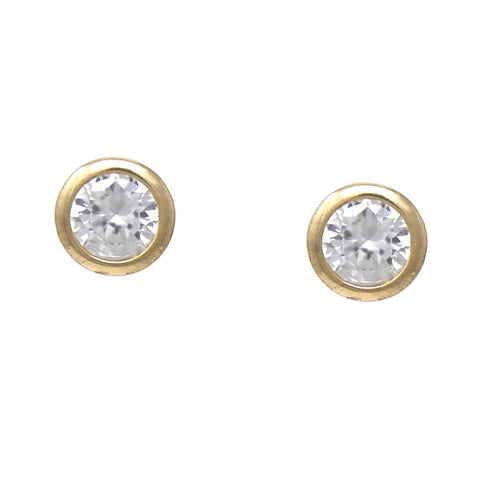 BITZ CIRCLE CUBIC ZIRCONIA PAVED STUD EARRINGS