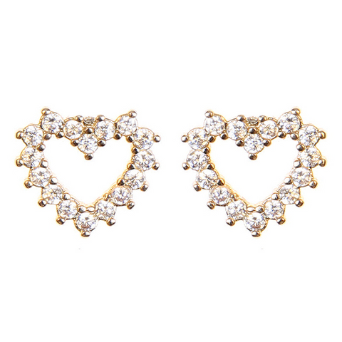 BITZ HEART SHAPED CUBIC ZIRCONIA STUDS EARRINGS