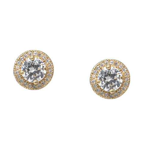 BITZ DISC CUBIC ZIRCONIA PAVED STUD EARRINGS