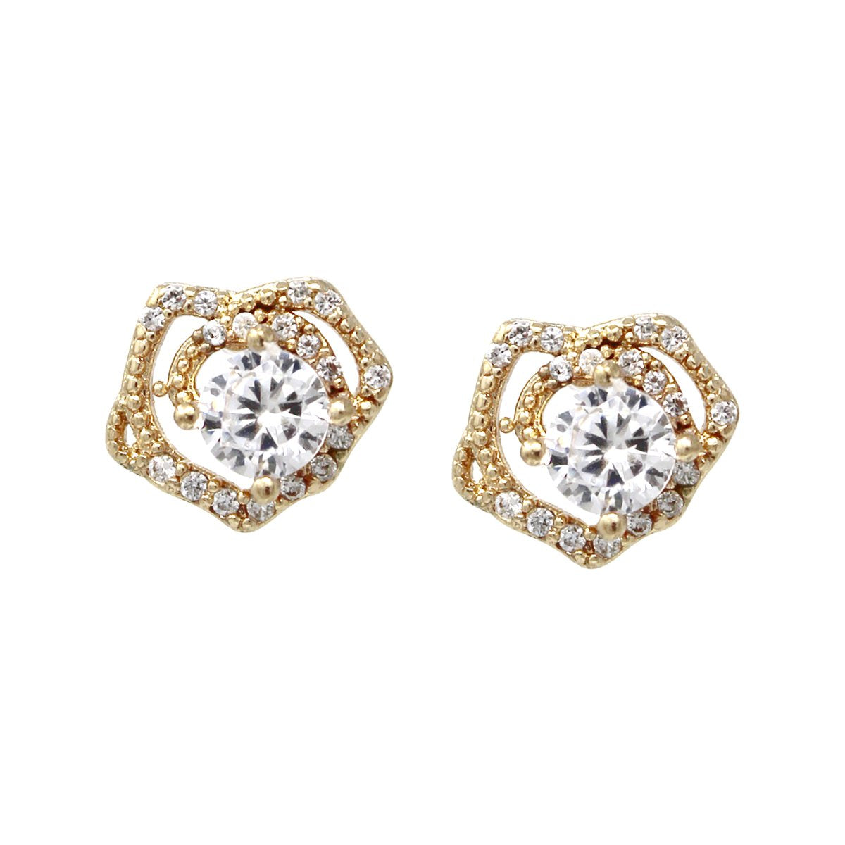 BITZ CUBIC ZIRCONIA PAVE ROSE STUD EARRINGS TWO COLOR OPTIONS - GOLD OR SILVER