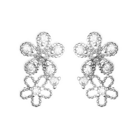 BITZ PETITE DOUBLE FLOWER CUBIC ZIRCONIA PAVED STUDS EARRINGS