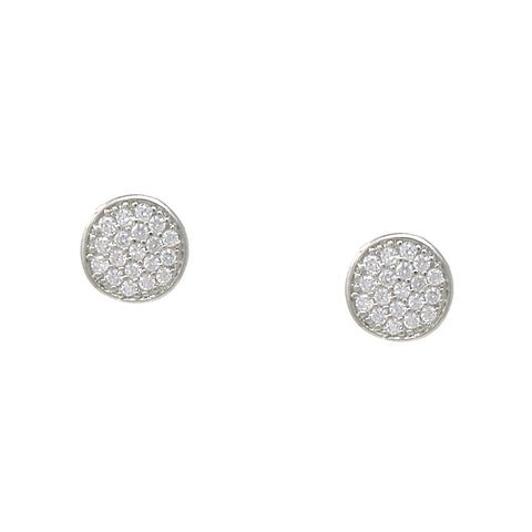 BITZ CUBIC ZIRCONIA PAVE DISC STUD EARRINGS