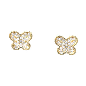 BITZ BUTTERFLY SHAPE CUBIC ZIRCONIA PAVED STUD EARRINGS TWO COLORS - GOLD OR SILVER