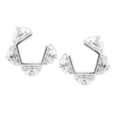 BITZ CUBIC ZIRCONIA CURVED STUD EARRINGS TWO COLOR OPTIONS - GOLD OR SILVER