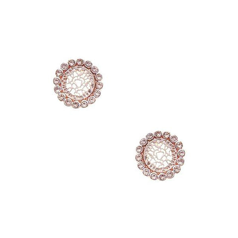 BITZ RHINESTONE TRIMMED FILIGREE ROUND STUD EARRINGS