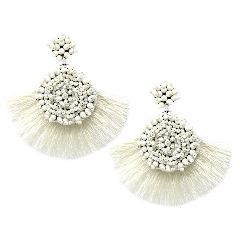 BITZ SEED BEADED DISC WITH FAN SHAPE TASSEL FRINGE DROP EARRINGS