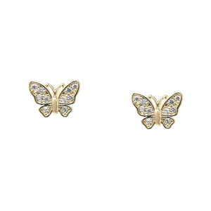 BITZ CUBIC ZIRCONIA PAVE PETITE PETITE BUTTERFLY STUD EARRINGS