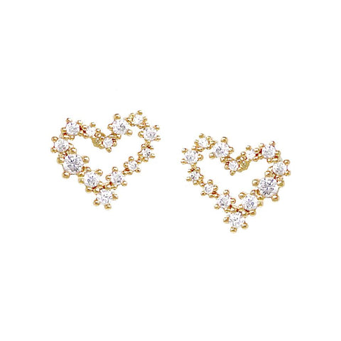 BITZ CUBIC ZIRCONIA PAVED MINI HEART STUD EARRINGS TWO COLOR OPTIONS - GOLD OR SILVER