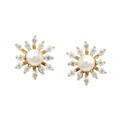 BITZ CUBIC MINI MINI ZIRCONIA PEARL BEAD PAVE STUD EARRINGS
