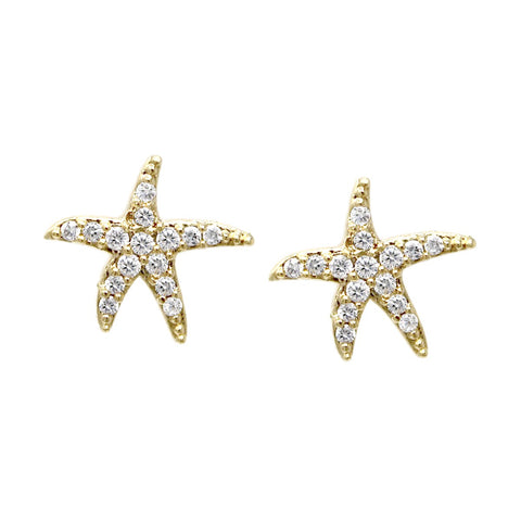 BITZ CUBIC ZIRCONIA PAVE STARFISH STUD EARRINGS