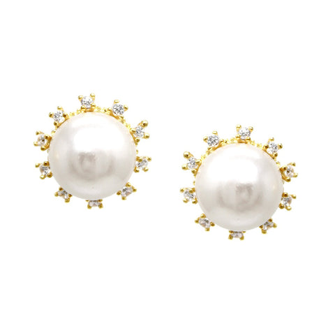 BITZ CUBIC ZIRCONIA PAVE PEARL BEAD STUD EARRINGS