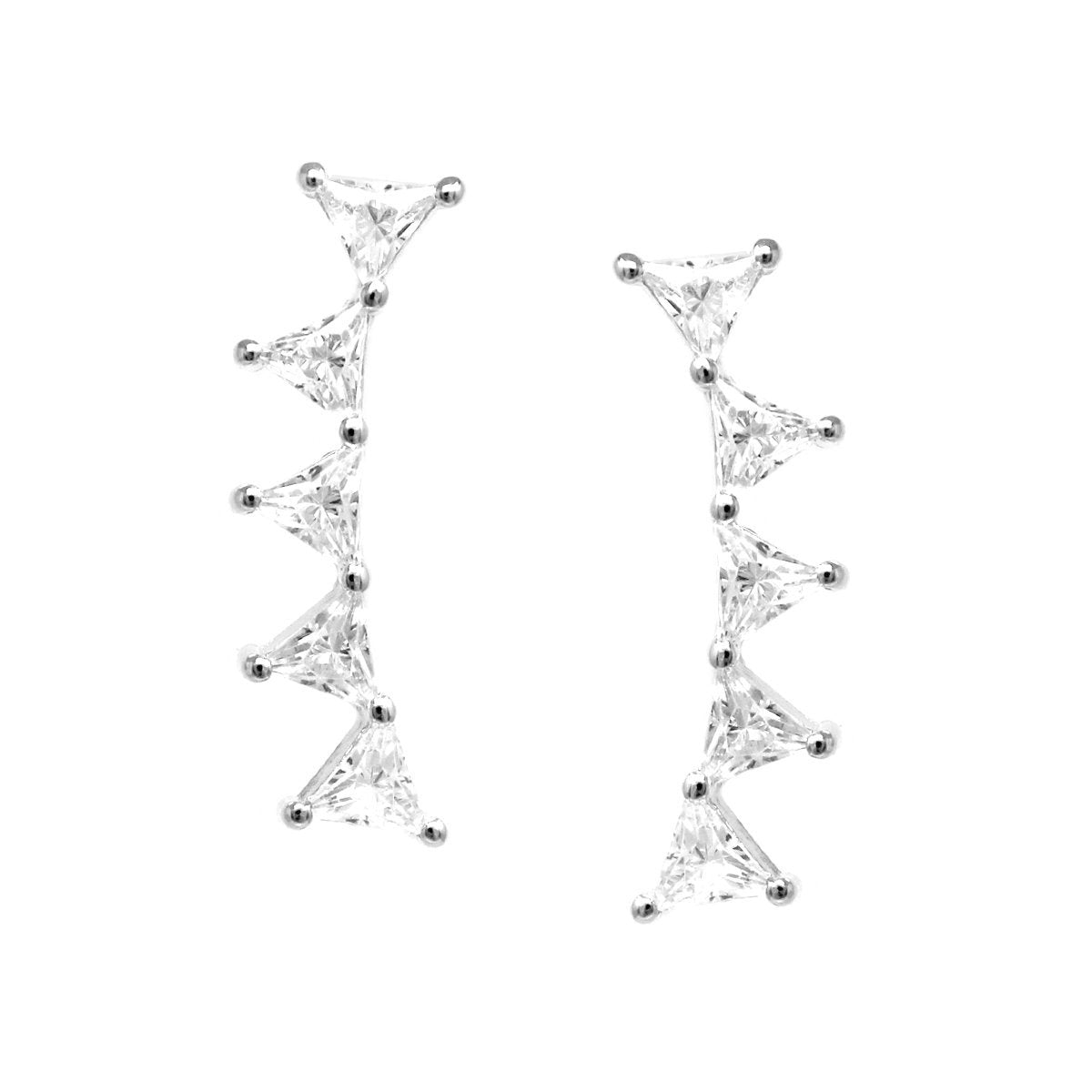 BITZ TRIANGLE SHAPE CUBIC ZIRCONIA PAVE EAR CRAWLERS EARRINGS TWO COLOR OPTIONS - GOLD OR SILVER
