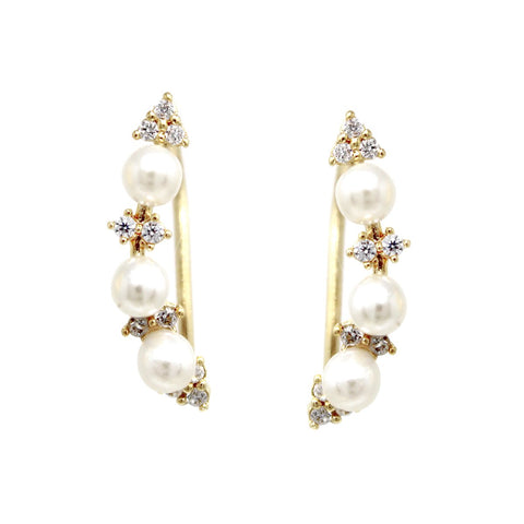 BITZ PEARL BEAD CUBIC ZIRCONIA PAVE EAR CRAWLERS EARRINGS