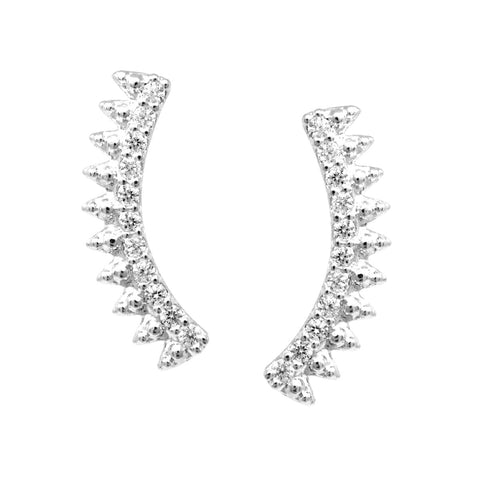 BITZ CUBIC ZIRCONIA PAVE SPIKE BAR EAR CRAWLERS EARRING