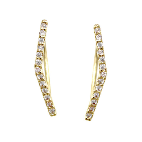 BITZ CUBIC ZIRCONIA PAVE CURVED BAR EAR CRAWLERS EARRING