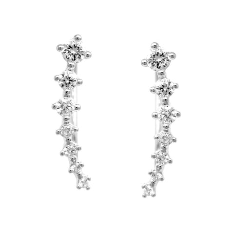 BITZ GRADUAL CUBIC ZIRCONIA PAVE EAR CRAWLERS EARRINGS TWO COLOR OPTIONS - GOLD OR SILVER