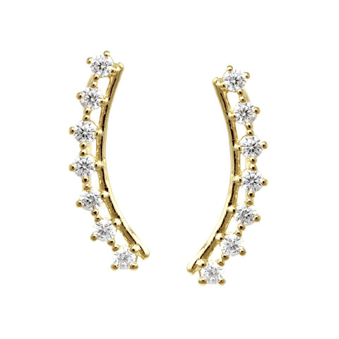 BITZ CUBIC ZIRCONIA PAVE CURVED METAL BAR EAR CRAWLERS EARRING
