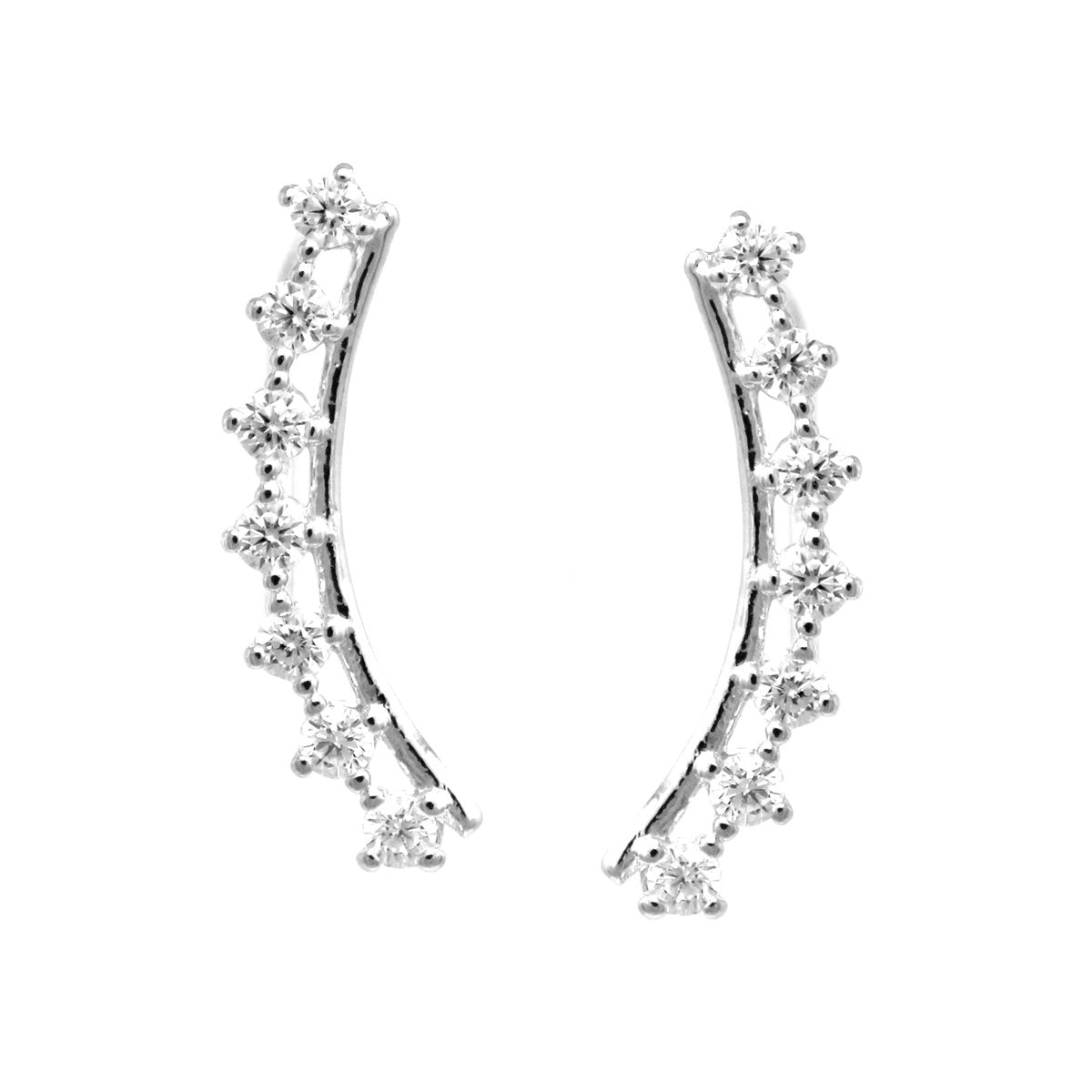 BITZ CUBIC ZIRCONIA PAVE CURVED METAL BAR EAR CRAWLERS EARRING TWO COLOR OPTIONS - GOLD OR SILVER