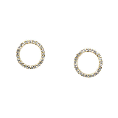 BITZ CZ PAVE HOOP STUD EARRINGS