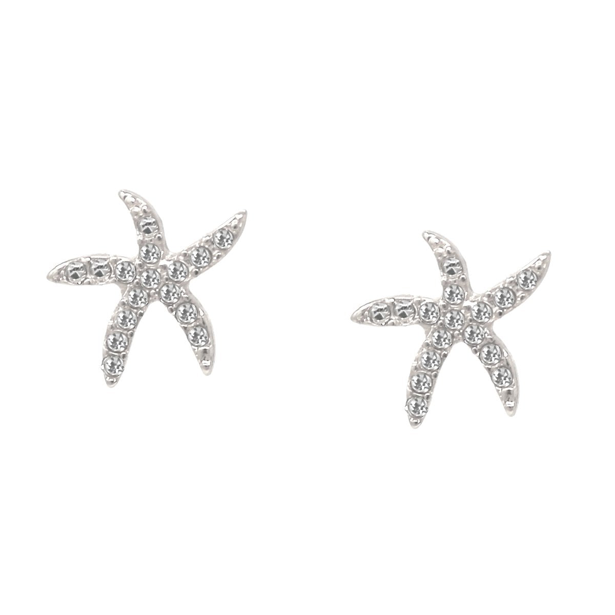 BITZ RHINESTONE PAVE MINI STARFISH STUD EARRINGS - TWO COLOR OPTIONS GOLD OR SILVER