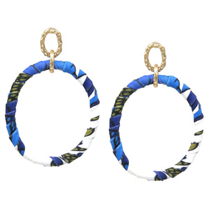 BITZ TROPICAL PRINT FABRIC WRAPPED HOOP DROP EARRINGS